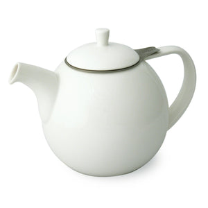 TeaLula 45 oz Curve white Teapot with lid