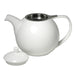 TeaLula 45 oz Curve white Teapot glossy surface with lid off and an extra-fine stainless-steel infuser inside teapot