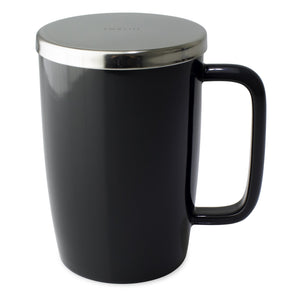 TeaLula 18 oz black graphite colored glossy surface finish mug with large thin rectangle handle and shiny stainless steel lid
