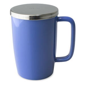 TeaLula 18 oz blue colored glossy surface finish mug with large thin rectangle handle and shiny stainless steel lid