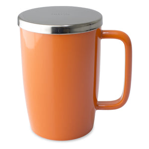 TeaLula 18 oz carrot orange colored glossy surface finish mug with large thin rectangle handle and shiny stainless steel lid