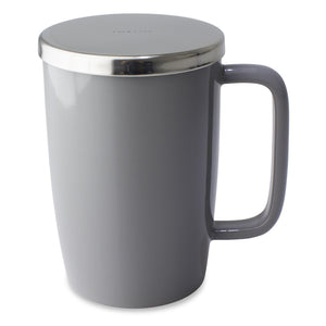 TeaLula 18 oz gray colored glossy surface finish mug with large thin rectangle handle and shiny stainless steel lid