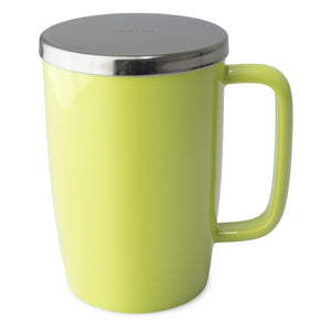 TeaLula 18 oz lime green colored glossy surface finish mug with large thin rectangle handle and shiny stainless steel lid