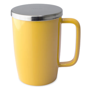 TeaLula 18 oz Mandarin orange yellow colored glossy surface finish mug with large thin rectangle handle and shiny stainless steel lid