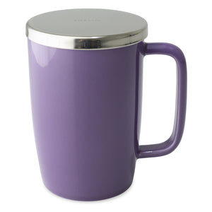 TeaLula 18 oz purple colored glossy surface finish mug with large thin rectangle handle and shiny stainless steel lid