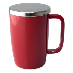 TeaLula 18 oz red colored glossy surface finish mug with large thin rectangle handle and shiny stainless steel lid