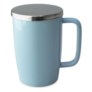 TeaLula 18 oz turquoise colored glossy surface finish mug with large thin rectangle handle and shiny stainless steel lid