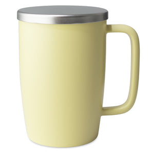 TeaLula 18 oz lemon grass yellow colored satin surface finish mug with large thin rectangle handle and matte stainless steel lid