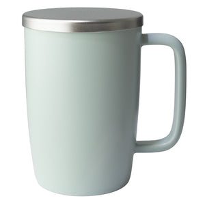 TeaLula 18 oz minty aqua colored satin surface finish mug with large thin rectangle handle and matte stainless steel lid
