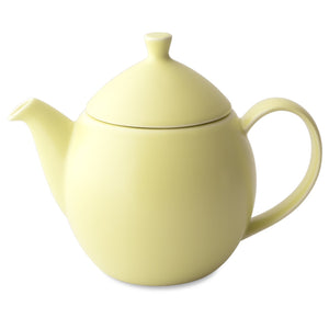 TeaLula 14 oz lemongrass yellow colored satin finish curve Dew Teapot with large thin curve handle and detachable tea pot lid