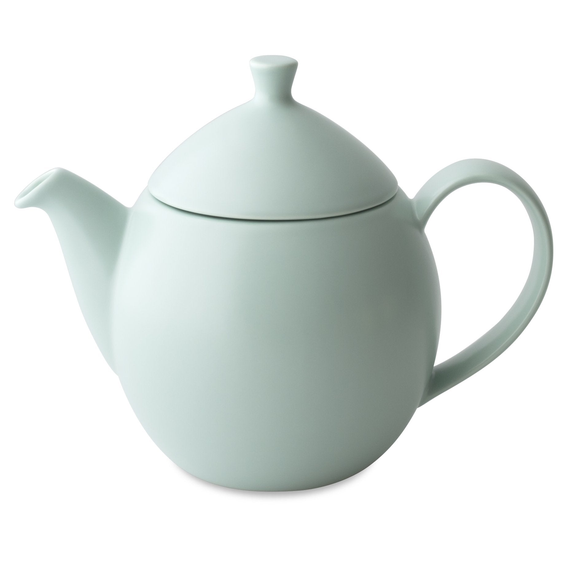 TeaLula 14 oz minty aqua colored satin finish curve Dew Teapot with large thin curve handle and detachable tea pot lid