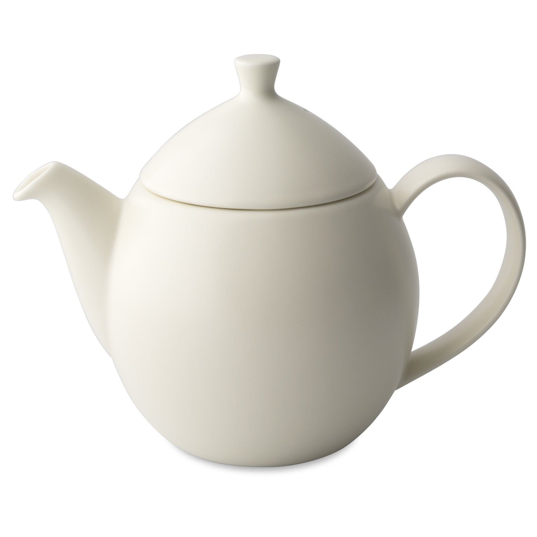 TeaLula 14 oz natural cotton white colored satin finish curve Dew Teapot with large thin curve handle and detachable tea pot lid