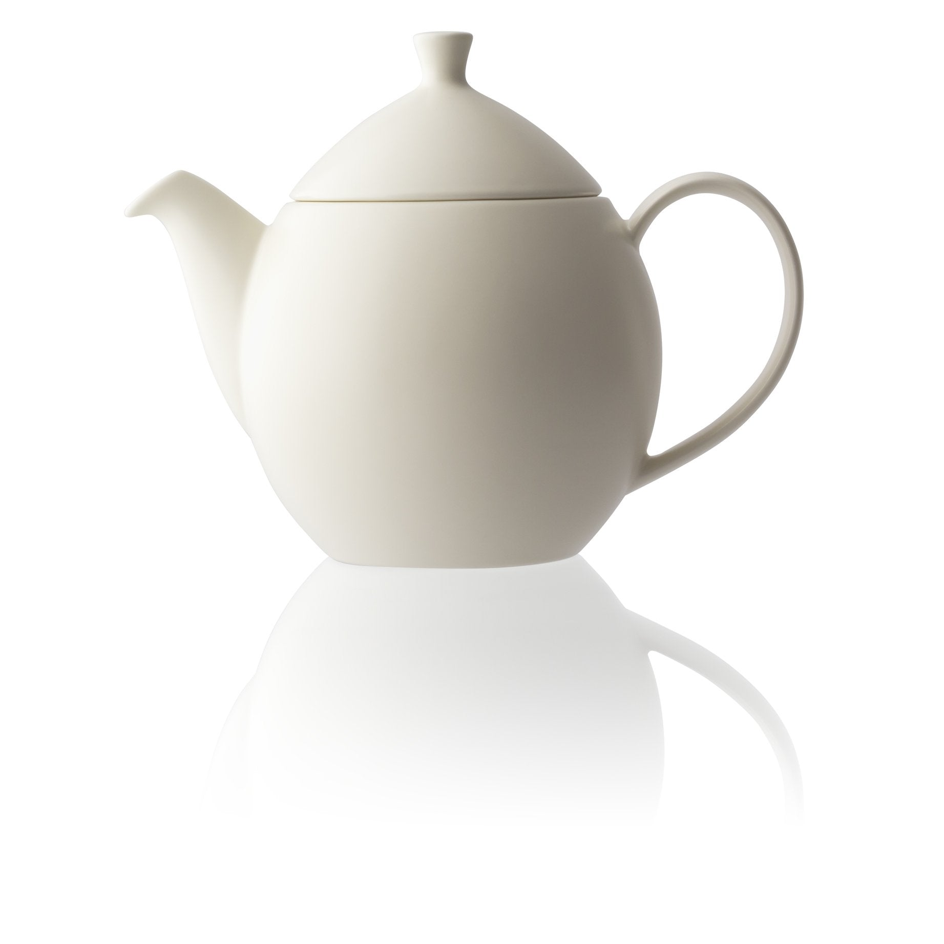 TeaLula 32 oz white satin finish curve Dew Teapot with large thin curve handle and detachable tea pot lid