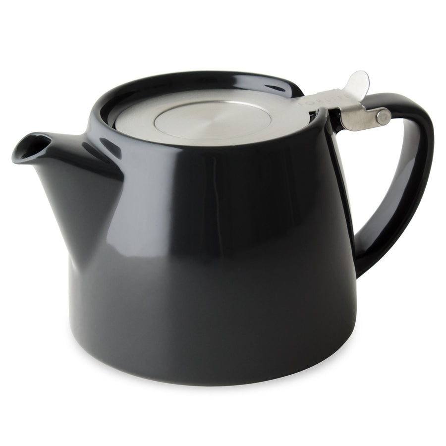 TeaLula 16 oz Stump black glosy finish Teapot with matte silver Attached hinged lid