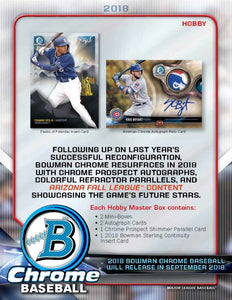 2018 Bowman Chrome Baseball Hobby Box September 26th