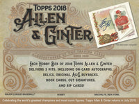 2018 Topps Allen & Ginter Baseball Hobby Box July 18th