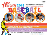2018 Topps Heritage Baseball Hobby Box February 28th