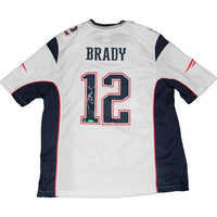 Tom Brady Autographed Replica White Jersey- Steiner Sports Authenticated