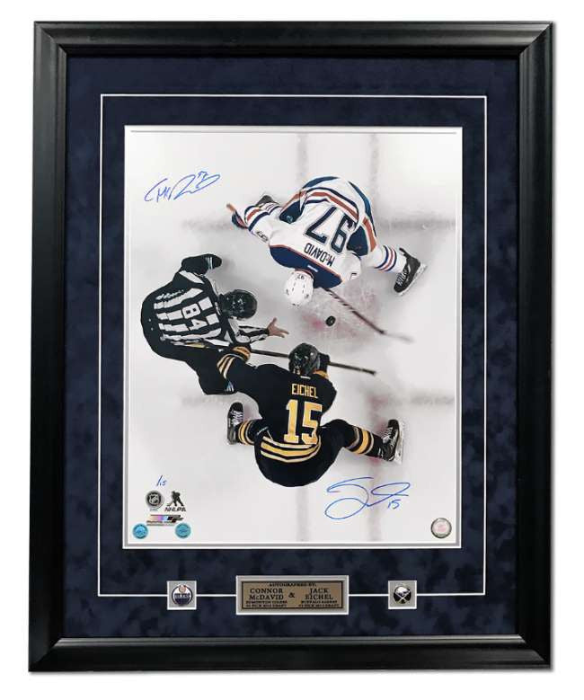 Connor McDavid & Jack Eichel Dual Signed Overhead Faceoff 31x25 Frame #/15 - A.J. Sports World Authenticated
