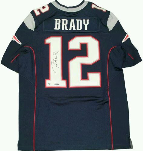 063aa8b97 Tom Brady Autographed New England Patriots Authentic Blue White Jersey- Steiner  Sports Authenticated
