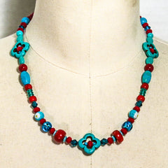 Beaded Necklace with crimp beads and clasp