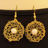 Crocheted Wire earrings with beads