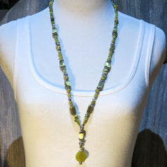 Beaded Necklace with Self Dangle