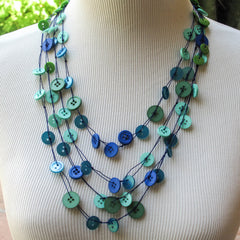 Bead or Button Multi-Strand Knotted necklace