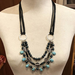 Leather & Wire Hoop Necklace