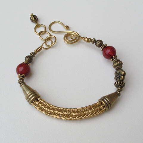 Goldtone Viling Knit Wire Bracelet with Red Sponge Coral Beads and Handmade Clasp