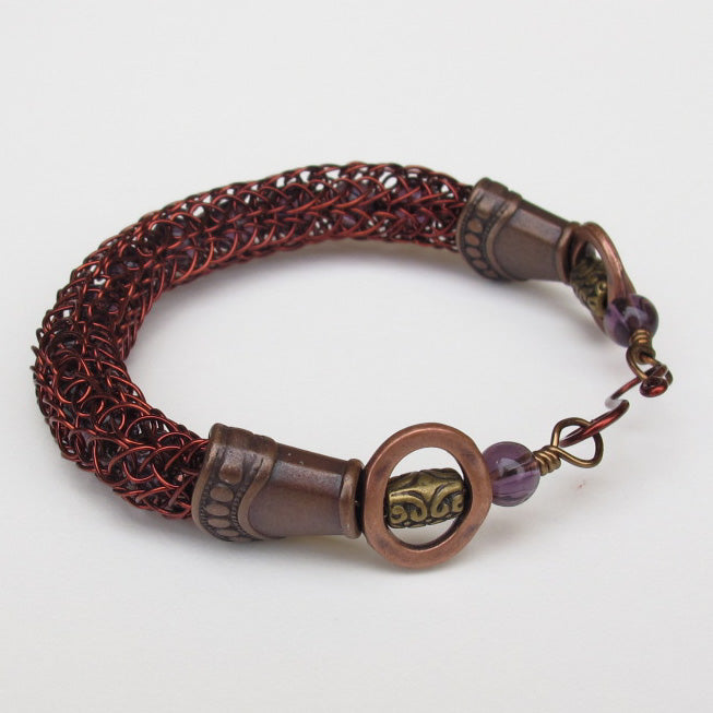 Viking Knit Bracelet, Antique Copper with Amethyst Beads