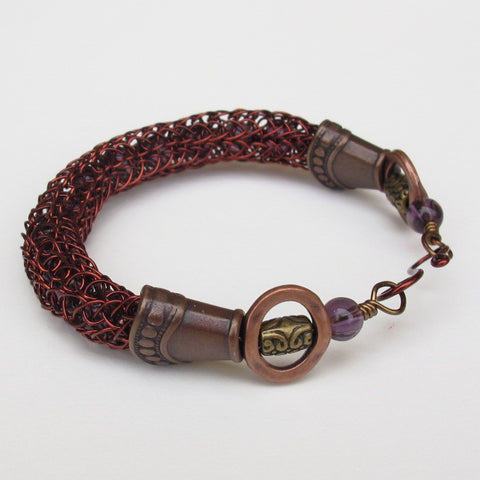 Antique Copper Viking Knit Bracelet with Amethyst Beads