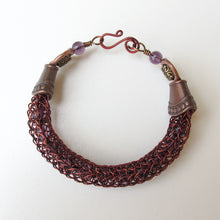 Load image into Gallery viewer, Viking Knit Bracelet, Antique Copper with Amethyst Beads
