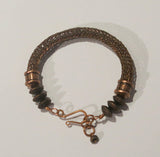 Viking Knit Bracelet, Antique Copper with Antique Copper Pewter Beads & Handmade Clasp