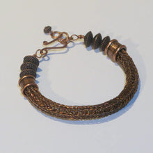 Load image into Gallery viewer, Viking Knit Bracelet, Antique Copper with Antique Copper Pewter Beads & Handmade Clasp