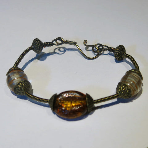 Bangle Bracelet Wrapped with Antique Brass Wire, with Lampwork Glass Beads & Handmade Clasp