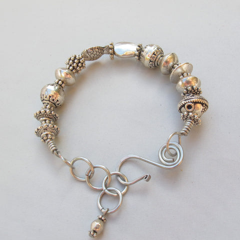 Bangle with Detailed Silvertone Pewter Beads and Handmade Clasp