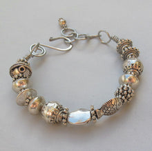 Load image into Gallery viewer, Bangle Bracelet with Detailed Silvertone Pewter Beads & Handmade Clasp