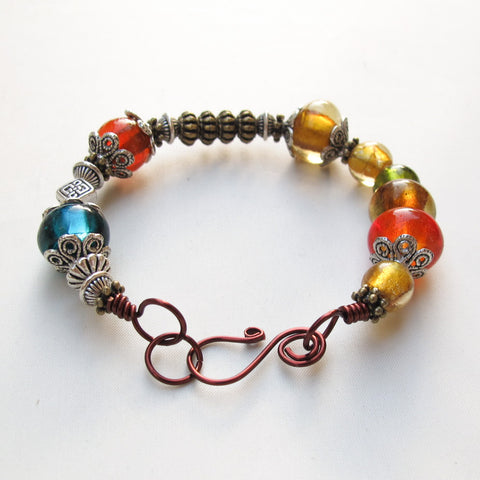 Bangle Bracelet with Multicolor Lampwork Glass Beads & Handmade Clasp