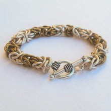 Load image into Gallery viewer, Chain Maille Bracelet in Byzantine Weave