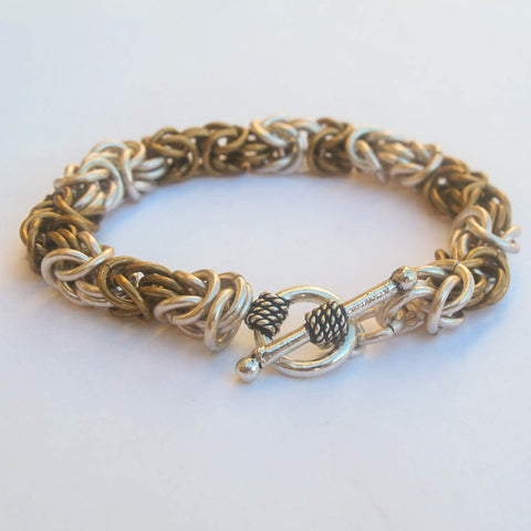 Byzantine Chain Maille Bracelet, Antique Brass & Silver-Plated Rings