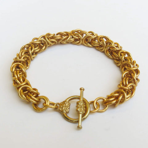 Chain Maille Bracelet in Byzantine Weave