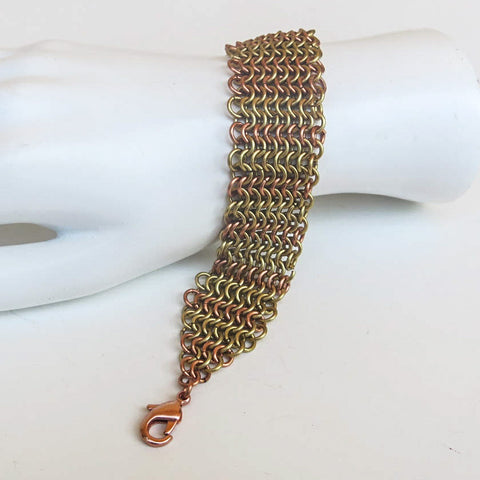 European 4-in-1 Chain Maille Bracelet with Lobster Clasp, Goldtone & Shiny Copper