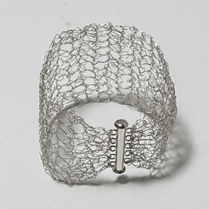 Hand-Crocheted Wire Bracelet with Slide-Lock Clasp
