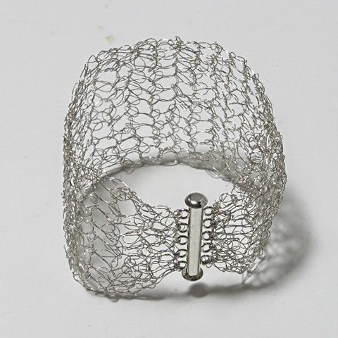 Hand-Crocheted Silver-Plated Wire Bracelet with Slide-Lock Clasp