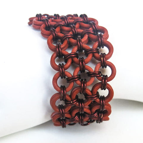 Rubber O-Ring & Metal Japanese Chain Maille Bracelet, Brick Red with Antique Copper