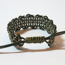 "Load image into Gallery viewer, Leather & Chain ""Industrial"" Bracelet, Black & Antique Brass"