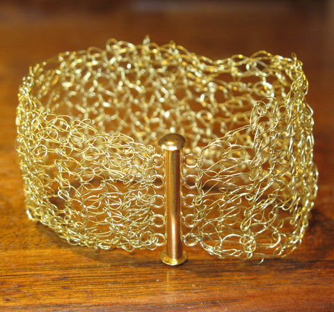 Hand-Crocheted Goldtone Bracelet with Slide-Lock Clasp