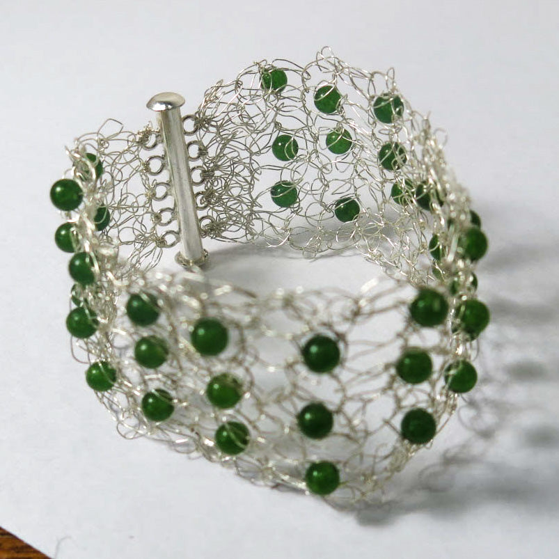 Hand-Crocheted Wire Bracelet with Semi-Precious Gemstone Beads