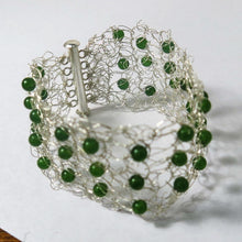 Load image into Gallery viewer, Hand-Crocheted Wire Bracelet with Semi-Precious Gemstone Beads